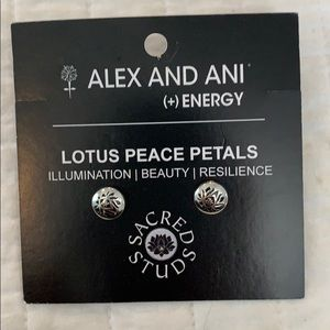 Brand new Alex and Ani lotus peace petal earrings